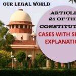 Cases of Article 21 Indian Constitution with Short explanation