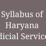 Syllabus of Haryana Judicial Services- Our Legal World