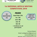 ISL Legal (Law Firm) and  Our Legal World organizing the 1st NATIONAL ARTICLE WRITING COMPETITION, 2019