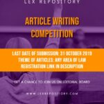 Lex Repository Article Writing Competition,  2019 Submit by 31 Oct