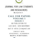 Call for Paper: JLSR-Journal for Law Students and Researchers[E-Journal]: Submissions on Rolling Basis