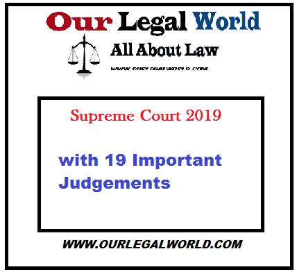 Important Supreme Court Judgment 2019