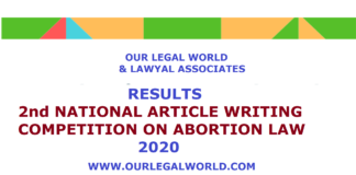 Results: 2nd National Article Writing Competition, Our Legal World & Lawyal Associates 2020