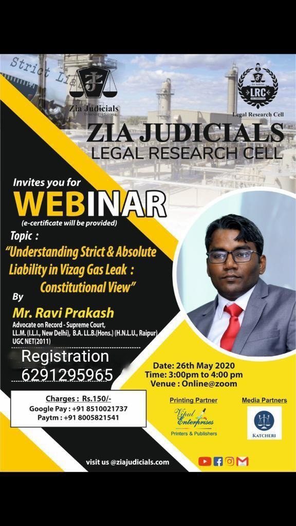 Webinar on Understanding Strict & Absolute Liability in Vizag Gas Leak: by Zia Judicials Legal Research Cell: Register-now