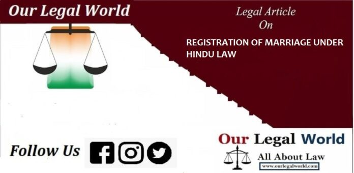 REGISTRATION OF MARRIAGE UNDER HINDU LAW