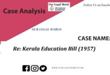 Re: Kerala Education Bill 1957: Case Analysis
