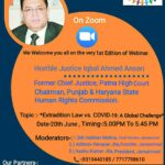 Webinar on Extradition Law Vs. COVID-19: A Global Challenge by JanSamvad