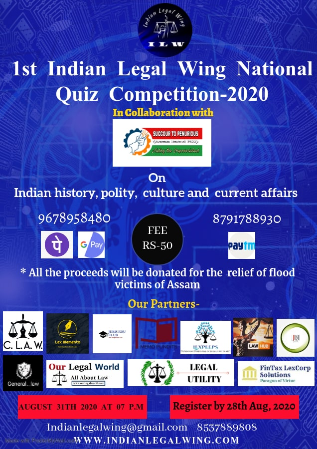 1ST INDIAN LEGAL WING NATIONAL QUIZ COMPETITION-2020