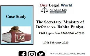 Secretary, Ministry of Defence vs. Babita Puniya