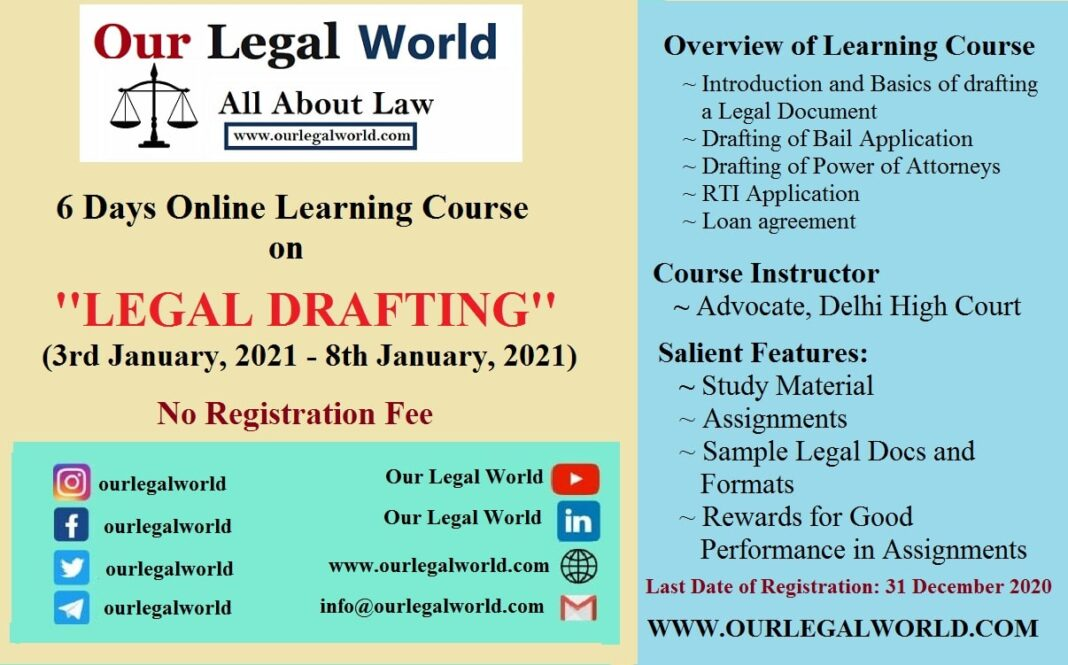 Legal Drafting Course by Our Legal World: Register by 31st Dec 2020