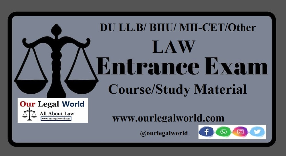 DU LLB and other Law Entrance Exam Preparation Study Material 2021(Online)